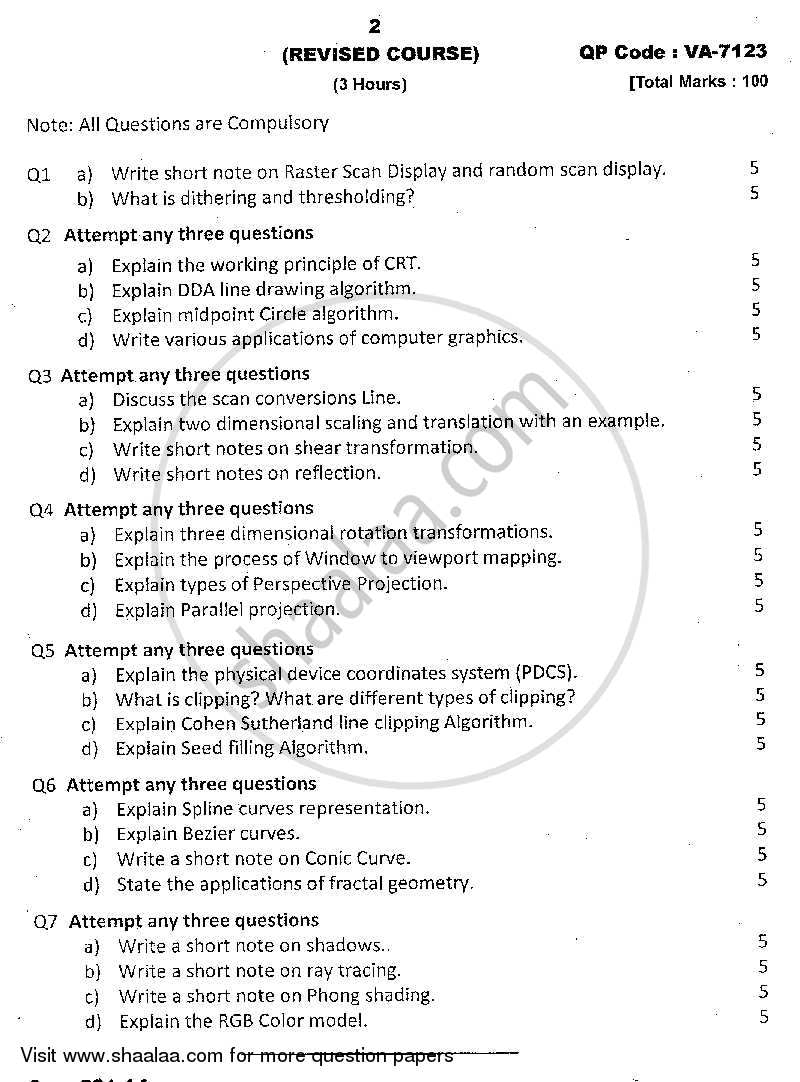 Question Paper - Computer Graphics 2013 - 2014 - B.Sc. - Semester 3 (SYBSc I.T) - University of Mumbai