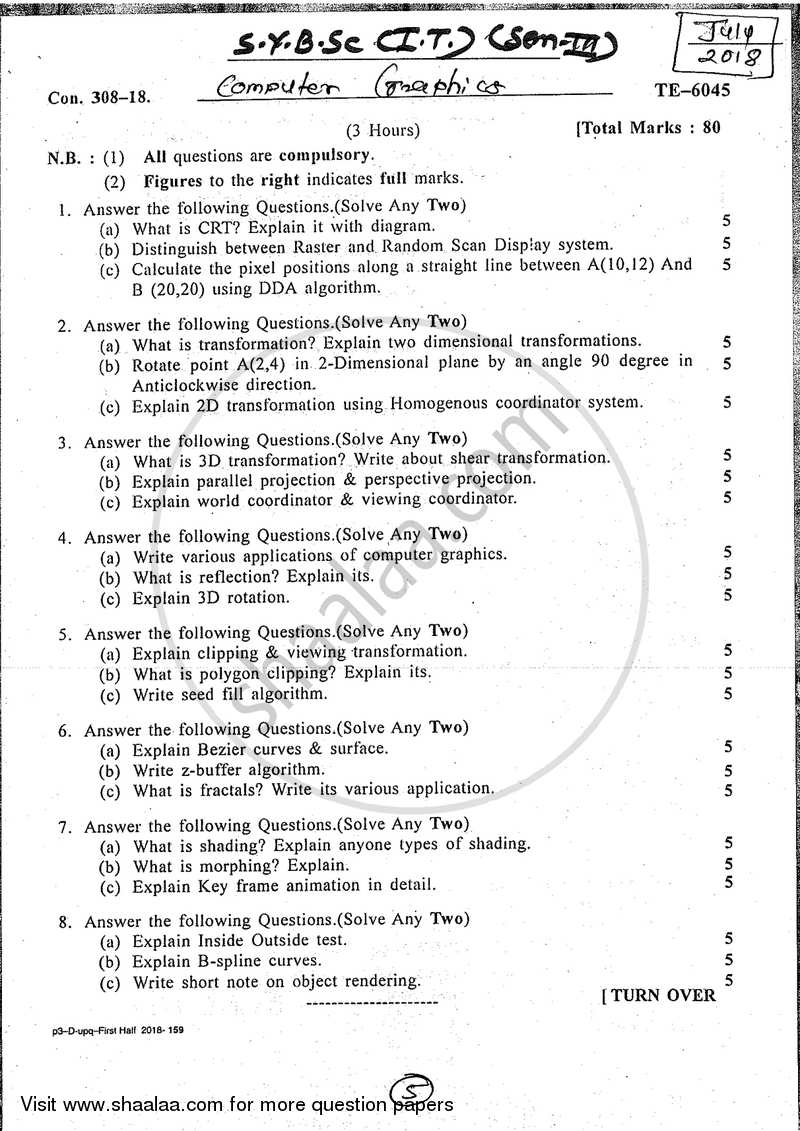 Question Paper B Sc It Information Technology Semester 3 Sybsc