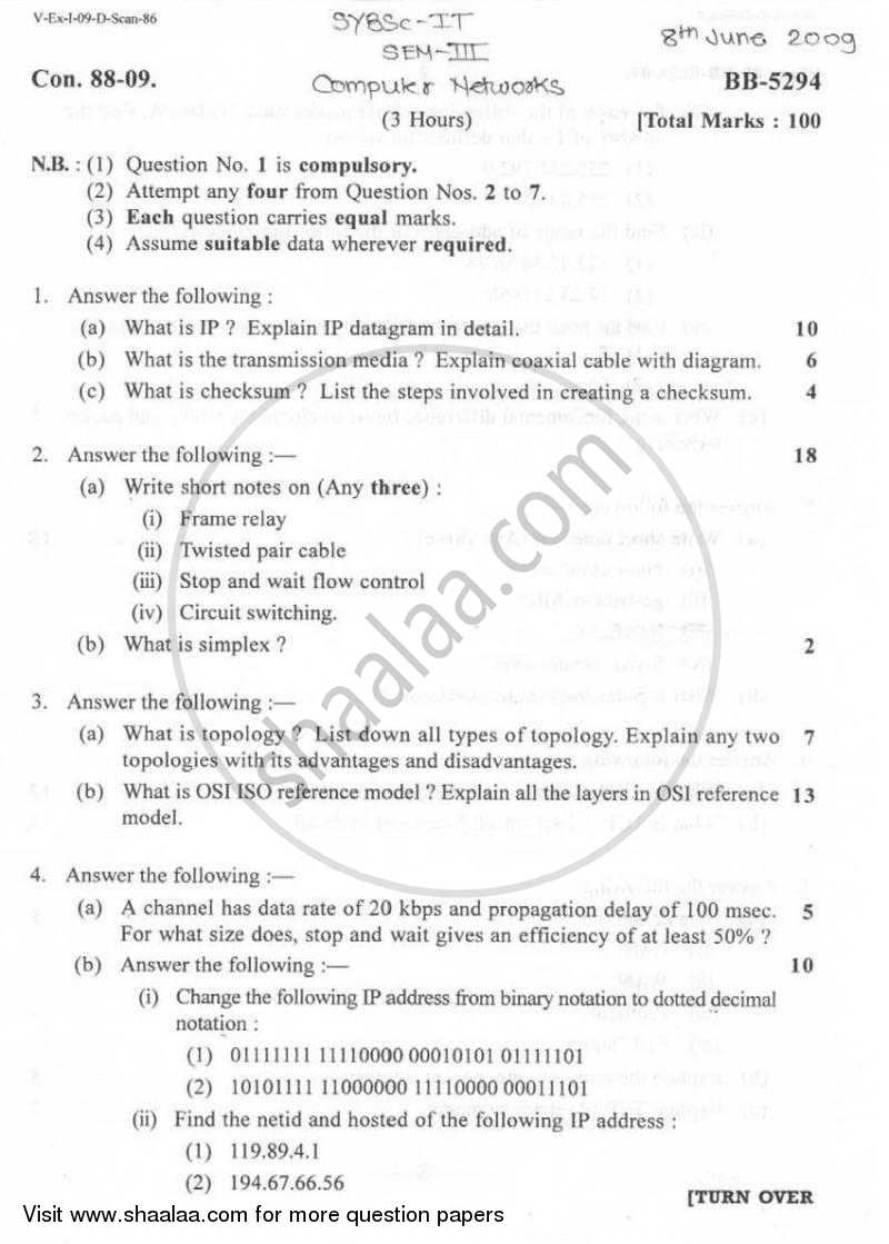 Question Paper - Computer Networks 2008 - 2009 - B.Sc. - Semester 3 (SYBSc I.T) - University of Mumbai