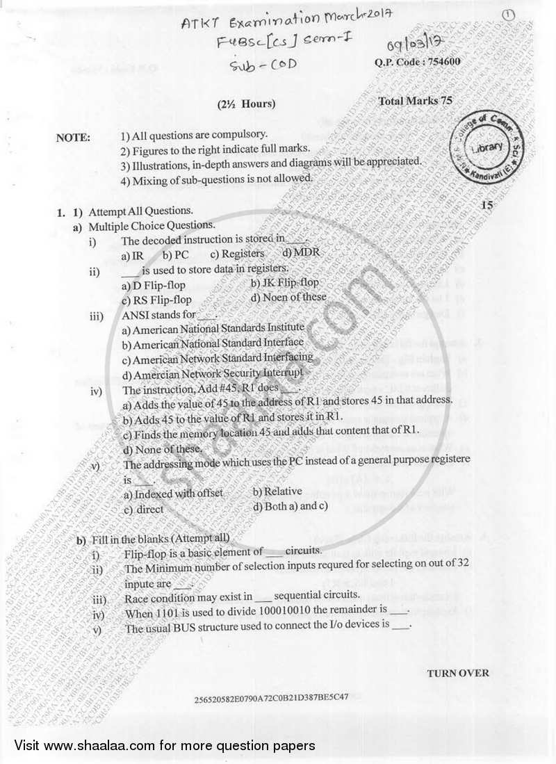 Computer Organization And Design 2016 2017 B Sc Computer Science Semester 1 Fybsc Question Paper With Pdf Download Shaalaa Com