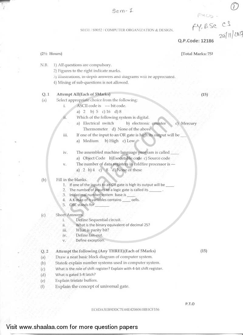 Computer Organization and Design 2017-2018 - B.Sc. - Semester 1 (FYBSc) - University of Mumbai question paper with PDF download