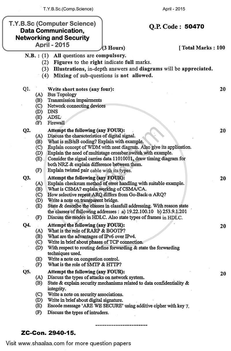 Question Paper - Data Communication, Networking and Security 2014 - 2015 - B.Sc. - 3rd Year (TYBSc) - University of Mumbai
