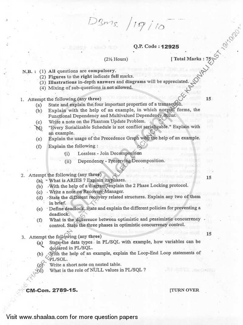 Database Management Systems 2 2015-2016 - B.Sc. - Semester 5 (TYBSc) - University of Mumbai question paper with PDF download