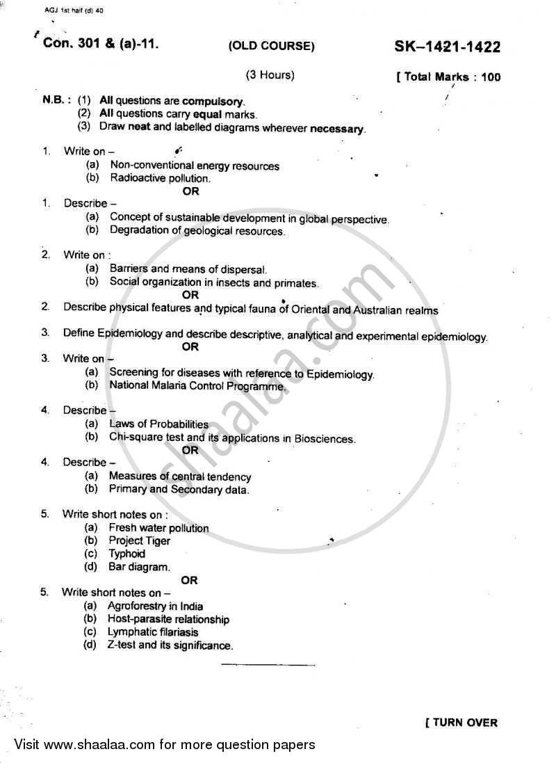 Environmental Science Environmental Biology, Epidemiology, Biostatistics 2010-2011 - B.Sc. - Semester 5 (TYBSc) - University of Mumbai question paper with PDF download
