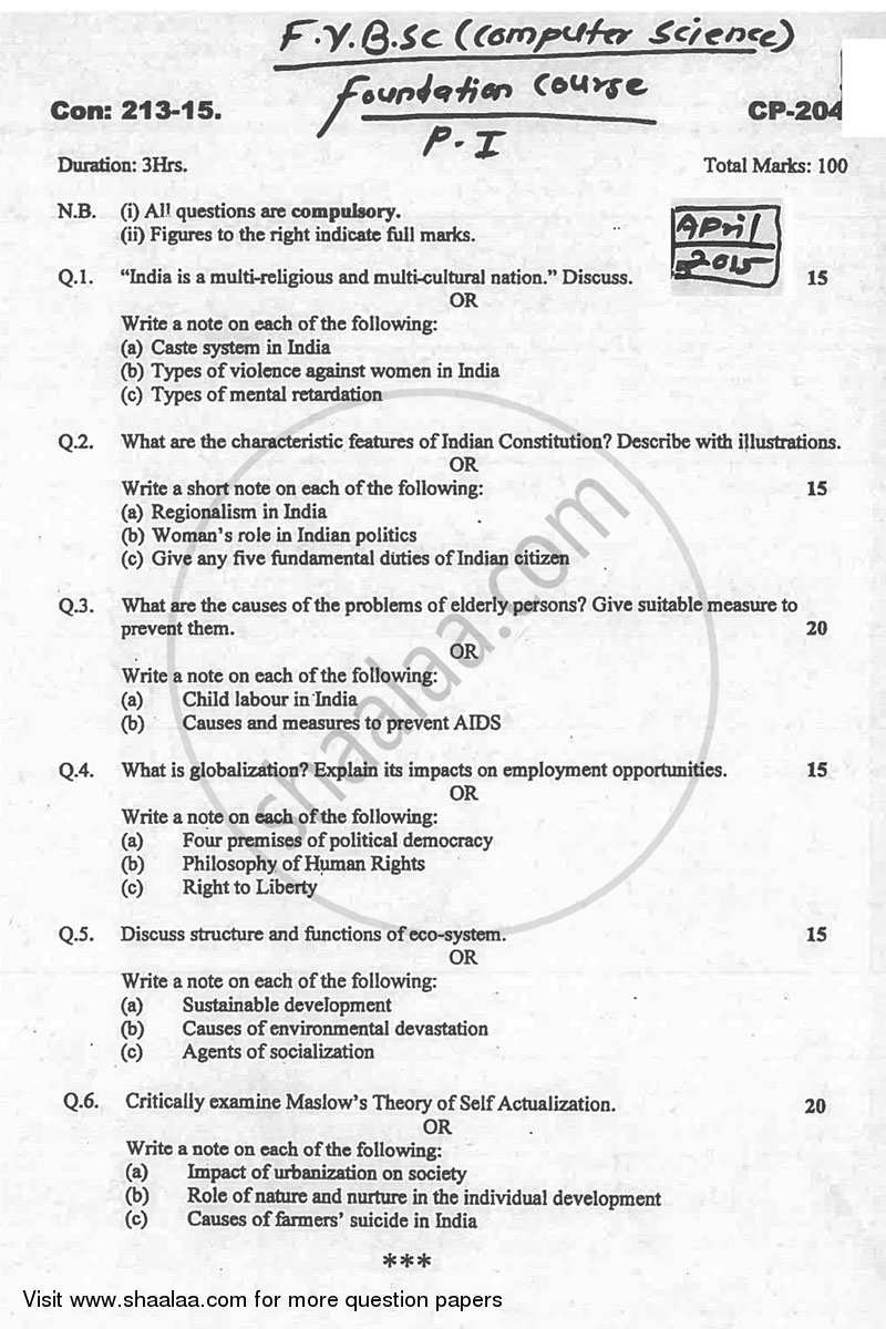 Question Paper - Foundation Course 1 2014 - 2015 - B.Sc. - 1st Year (FYBSc) - University of Mumbai
