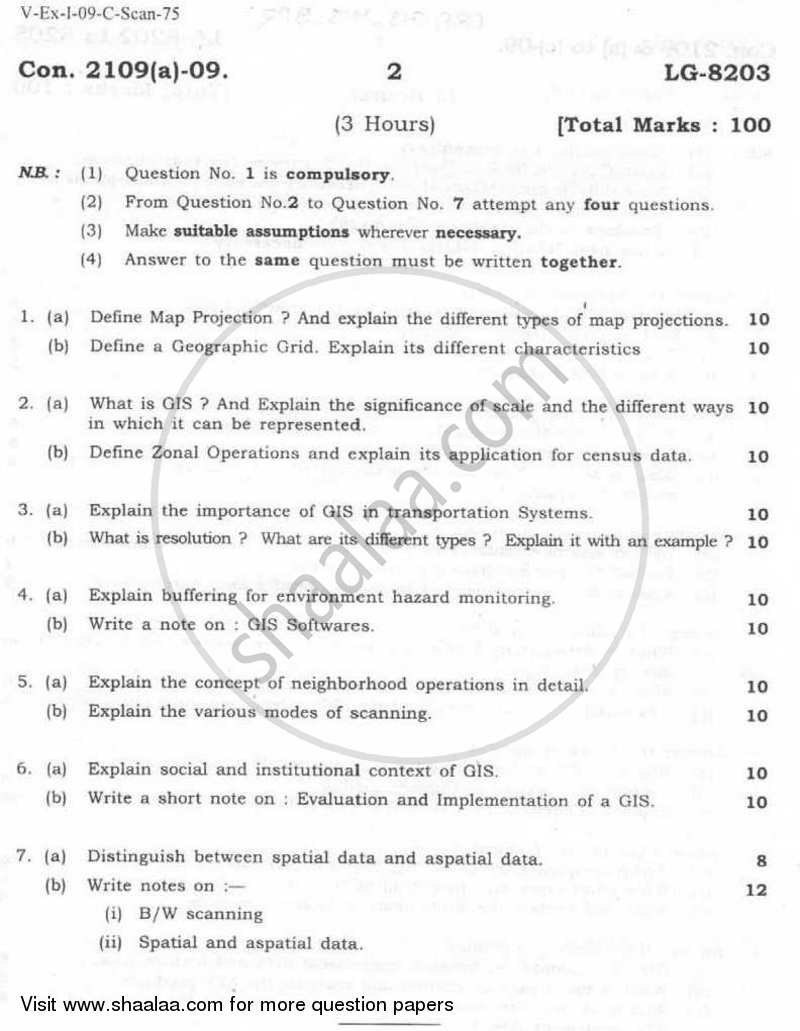 Question Paper - Geographic Information Systems 2008 - 2009 - B.Sc. - Semester 5 (TYBSc I.T) - University of Mumbai