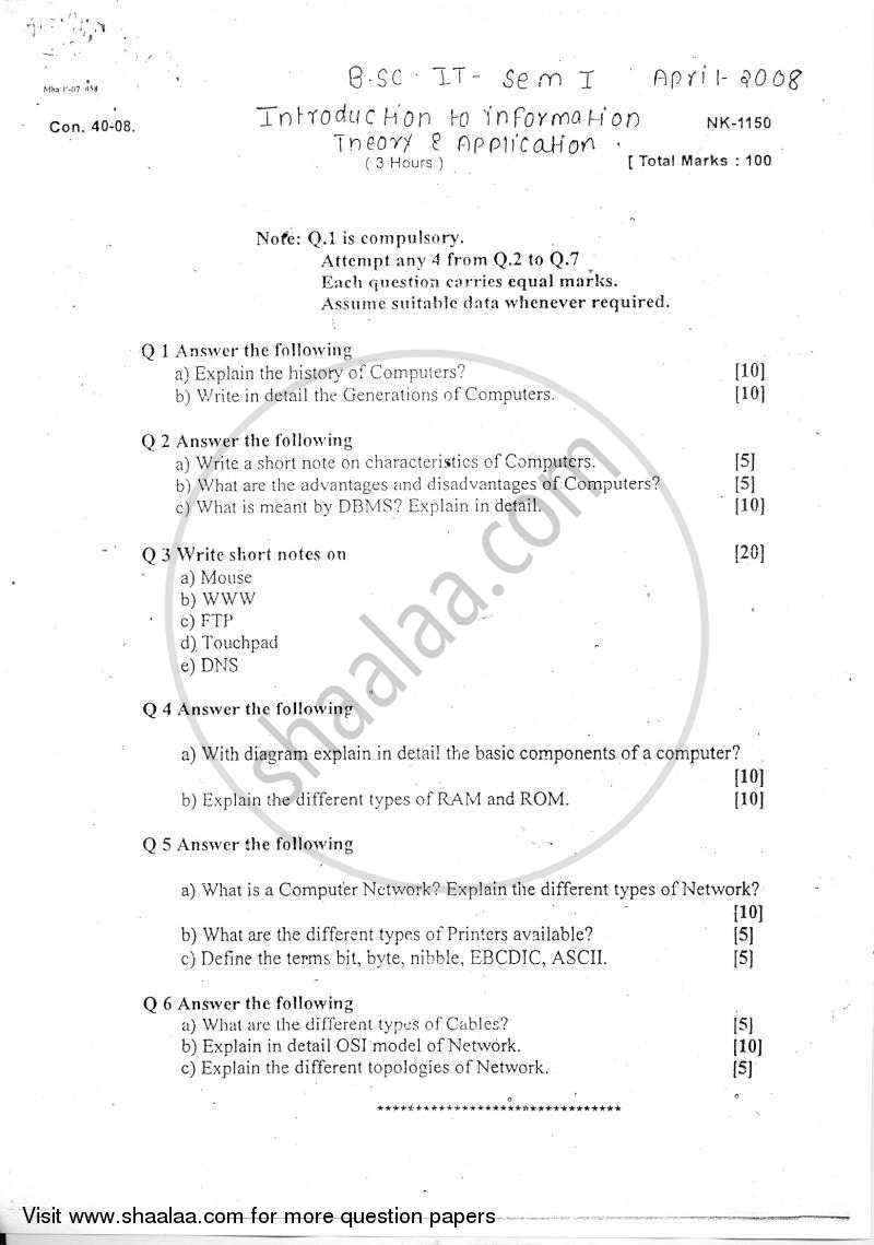 Question Paper - Introduction to Information Theory and Applications 2007 - 2008 - B.Sc. - Semester 1 (FYBSc I.T) - University of Mumbai
