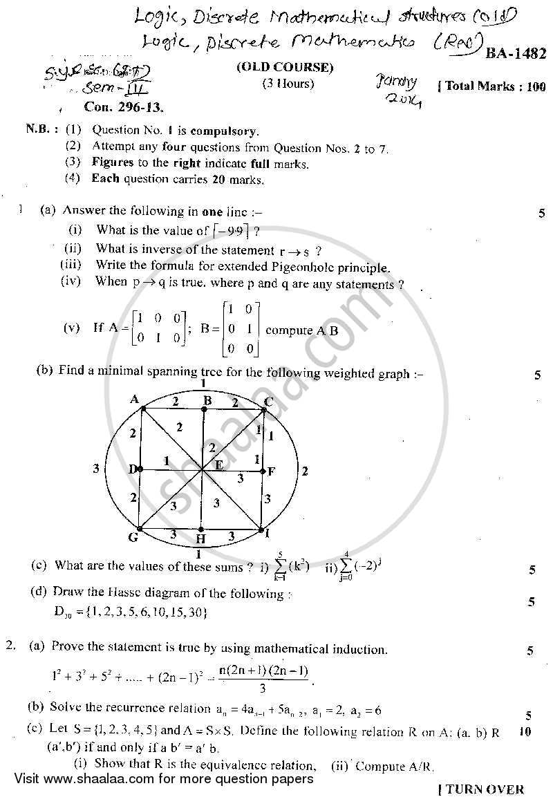 Question Paper - Logic Discrete Mathematical Structures 2014 - 2015 - B.Sc. - Semester 3 (SYBSc I.T) - University of Mumbai