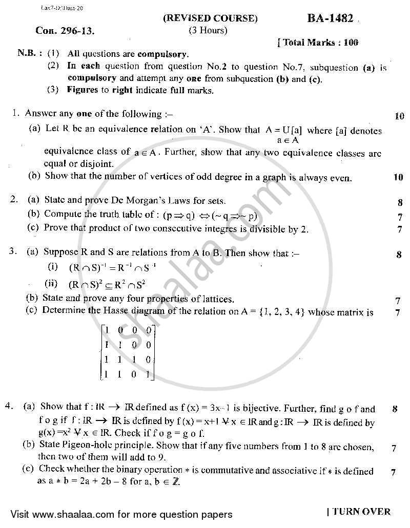 Question Paper - Logic and Discrete Mathematics 2014 - 2015 - B.Sc. - Semester 3 (SYBSc I.T) - University of Mumbai