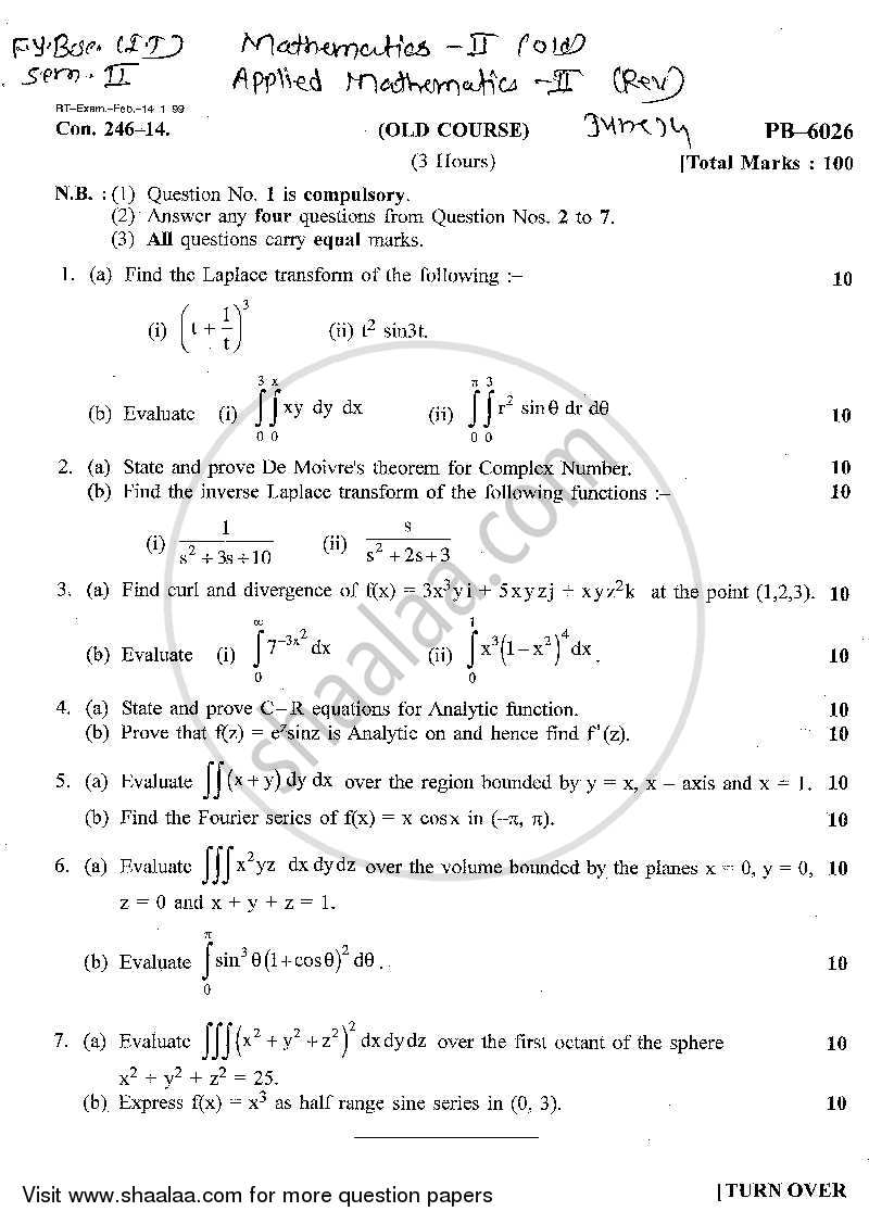 Question Paper - Mathematics 2 2013 - 2014 - B.Sc. - Semester 2 (FYBSc I.T) - University of Mumbai