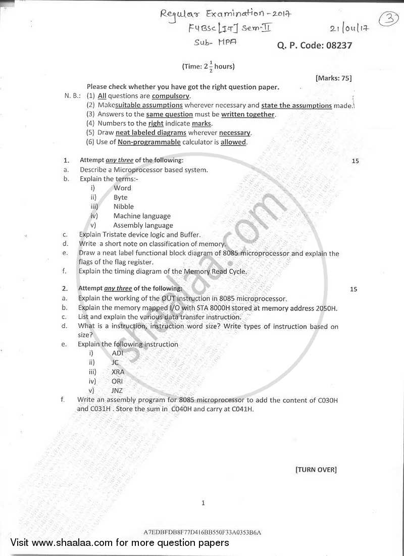 Question Paper Microprocessor Architecture 2016 2017 Bsc It Logic Diagram Of 8085 Semester 2