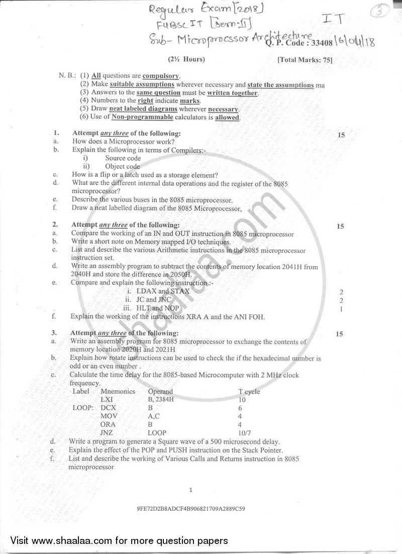 Question Paper B Sc It Information Technology Semester 2 Fybsc