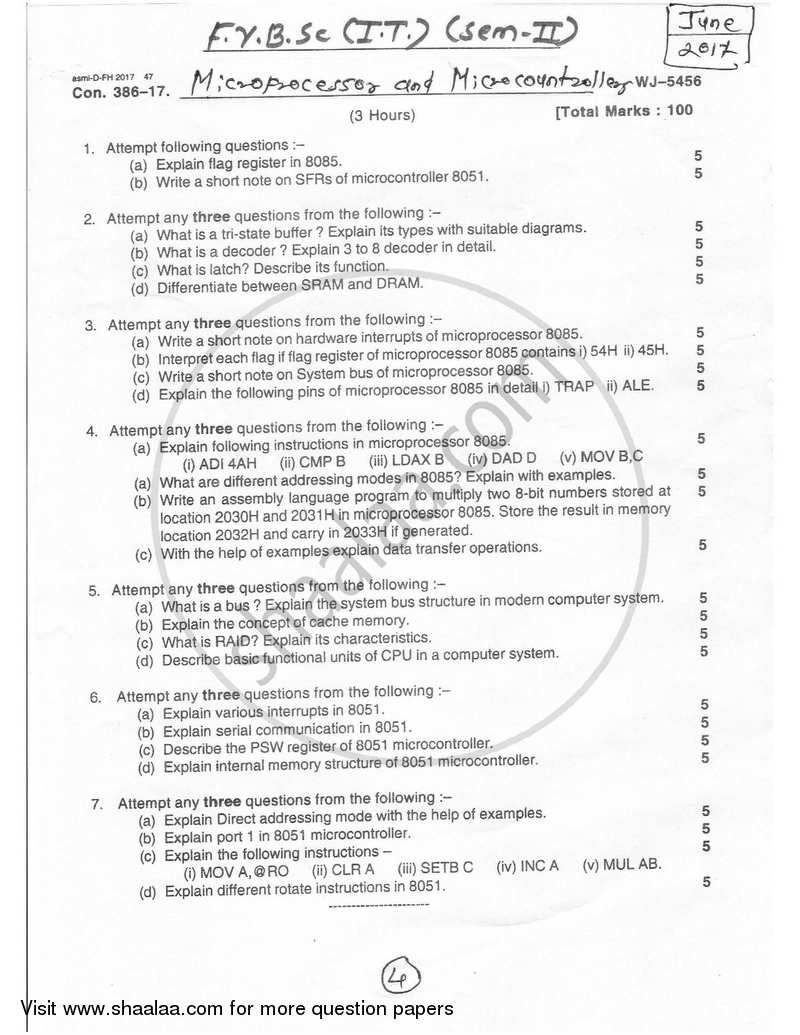 Question Paper - Microprocessor and Microcontrollers 2016 - 2017 - B.Sc. - Semester 2 (FYBSc I.T) - University of Mumbai