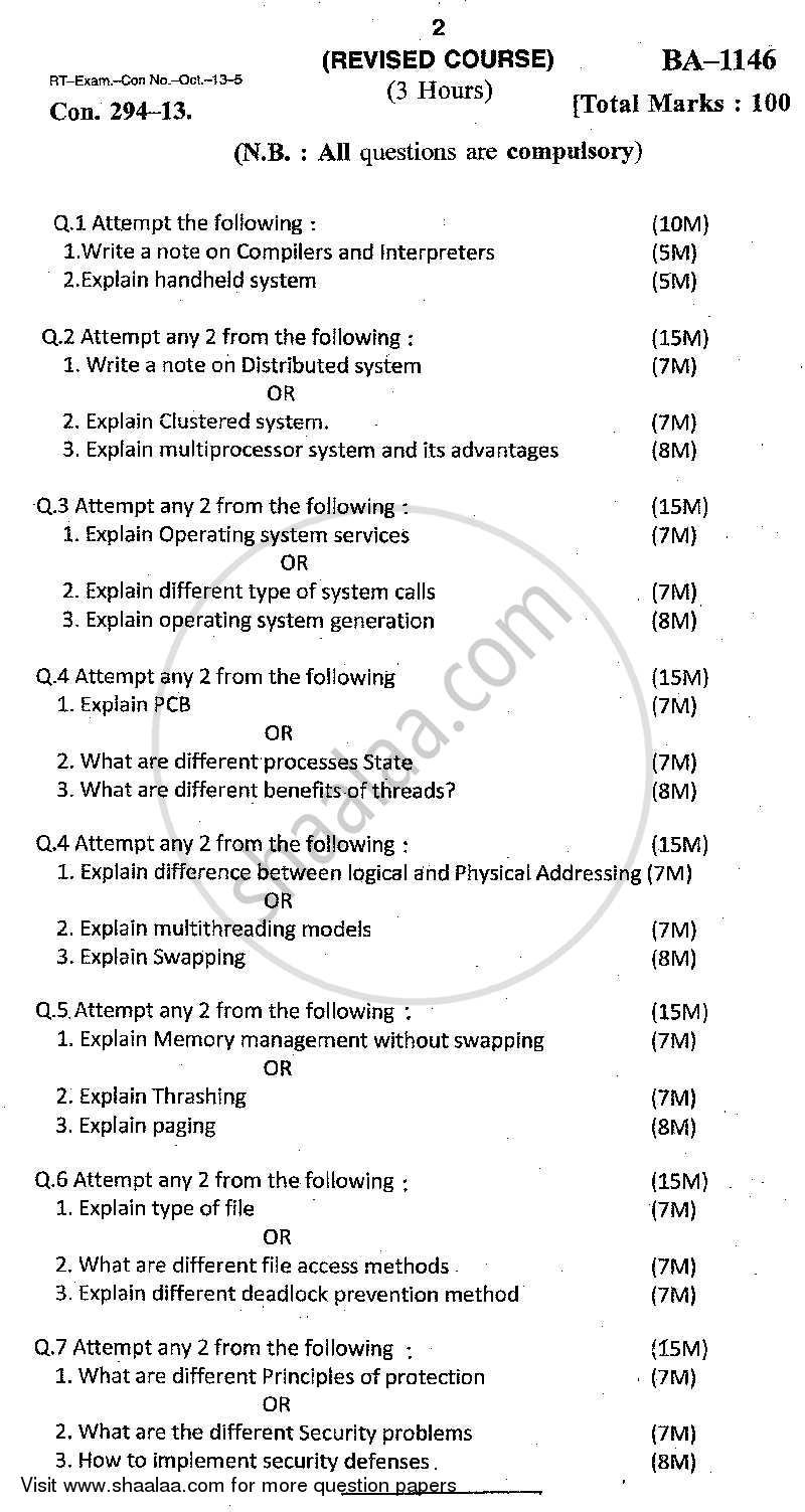 Question Paper - Modern Operating Systems 2014 - 2015-B.Sc.-Semester 3 (SYBSc I.T) University of Mumbai