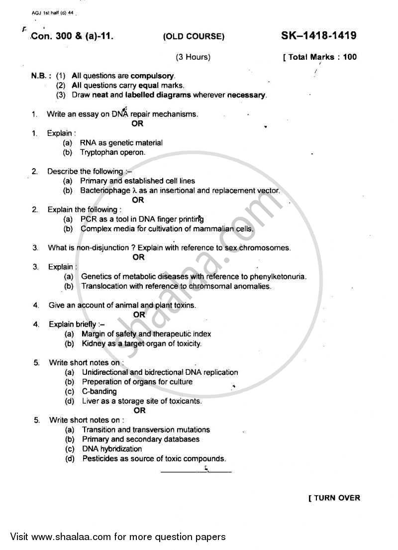 Question Paper - Molecular Biology, Biotechnology,Genetics,Evolution and Taxicology 2010 - 2011 - B.Sc. - Semester 5 (TYBSc) - University of Mumbai