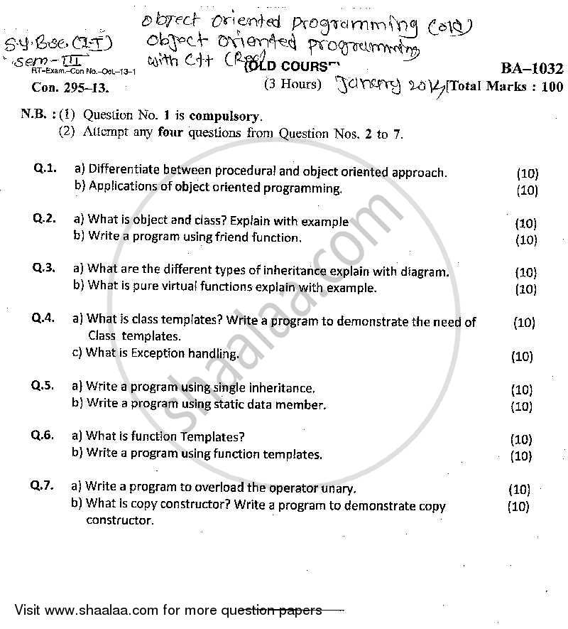 Question Paper - Object Oriented Programming 2013 - 2014 - B.Sc. - Semester 3 (SYBSc I.T) - University of Mumbai