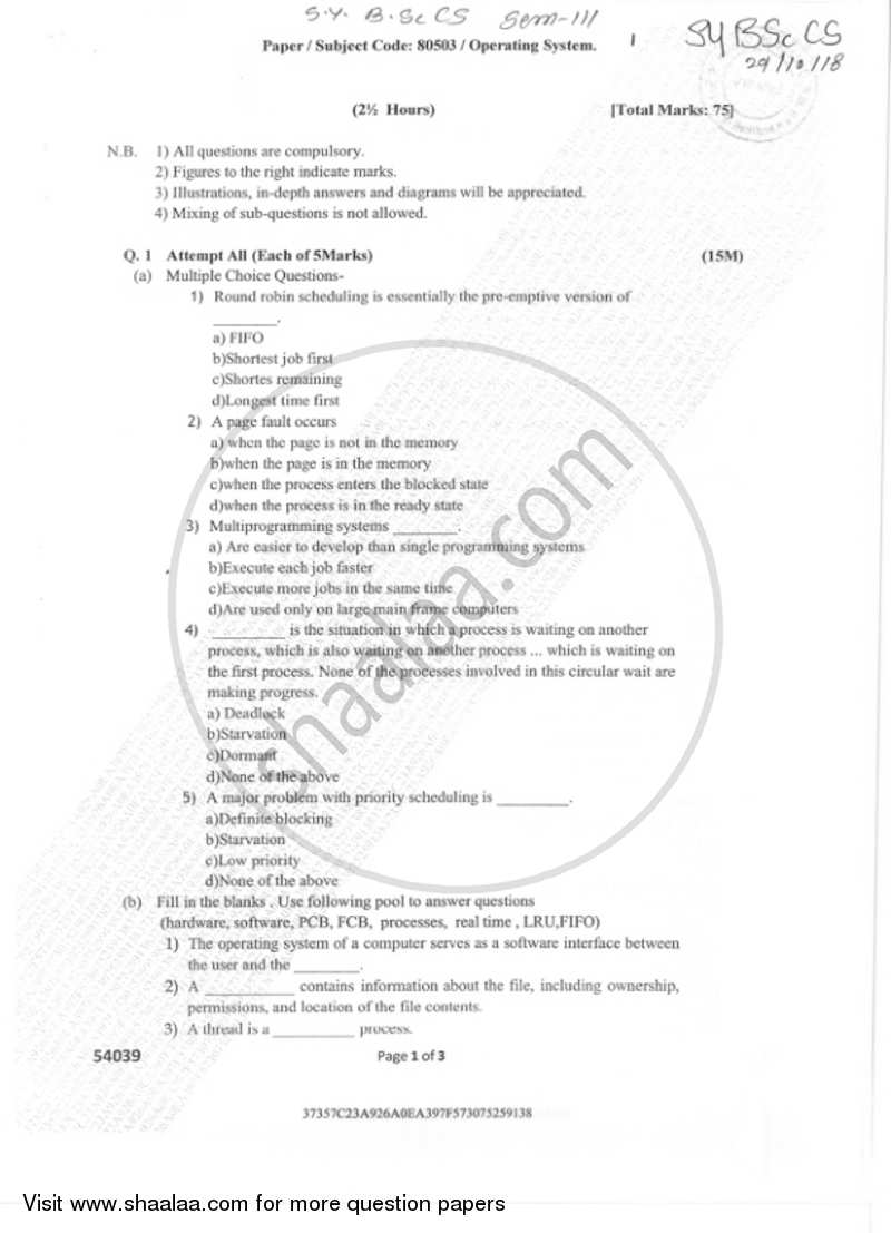 Operating Systems 2018 2019 B Sc Computer Science Semester 3 Sybsc Set 1 Question Paper With Pdf Download Shaalaa Com