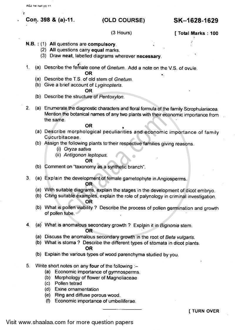 Question Paper - Plant Diversity 4 2010 - 2011 - B.Sc. - Semester 5 (TYBSc) - University of Mumbai