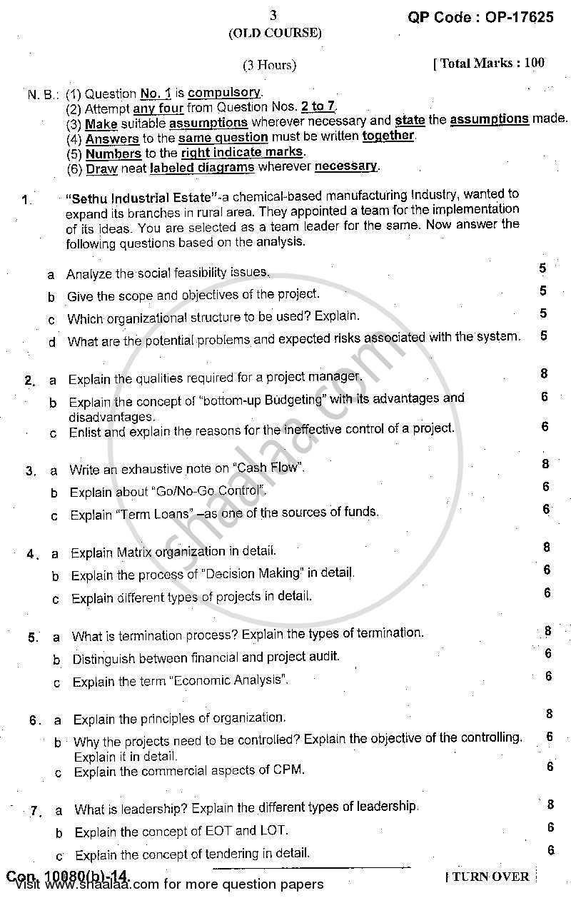 Question Paper - Project Management 2013 - 2014 - B.Sc. - Semester 6 (TYBSc I.T) - University of Mumbai