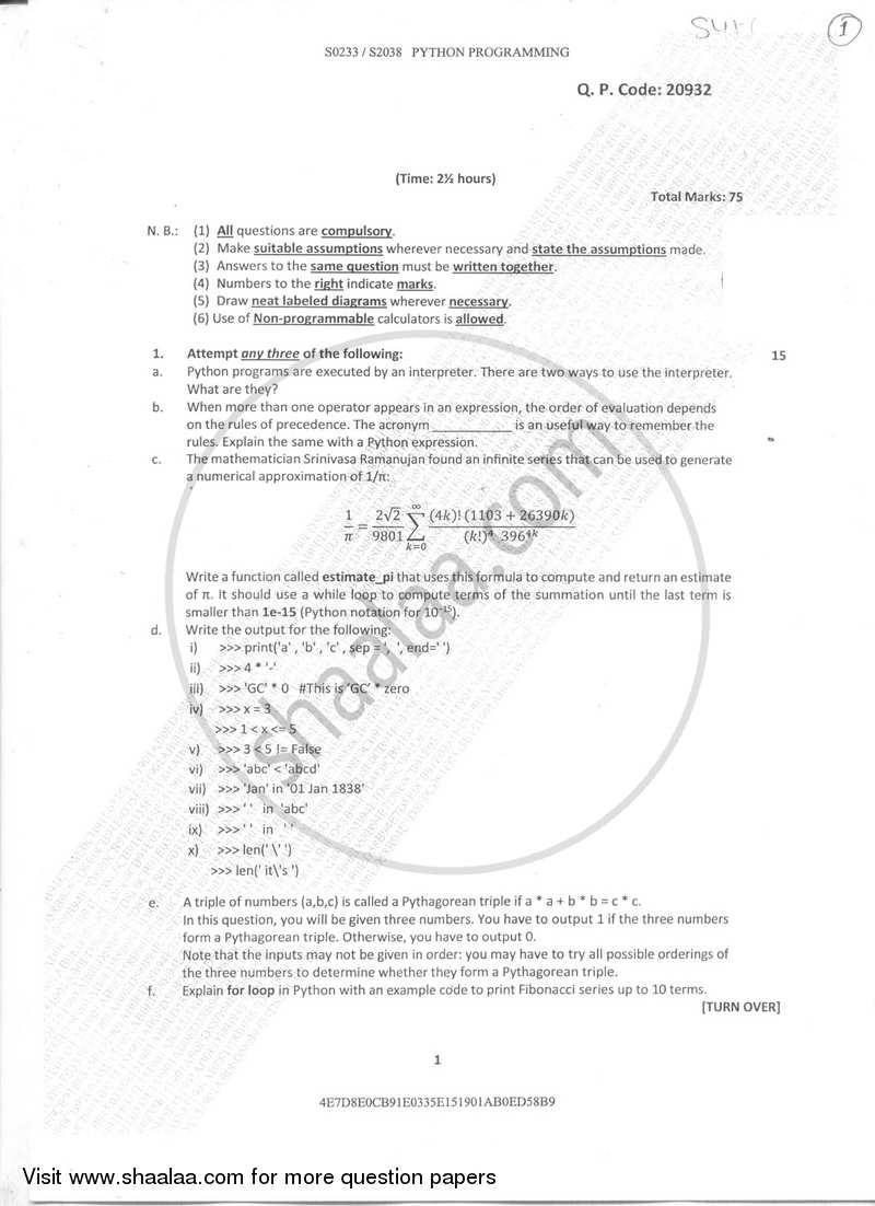 Question Paper Python Programming 2017 2018 B Sc It Information