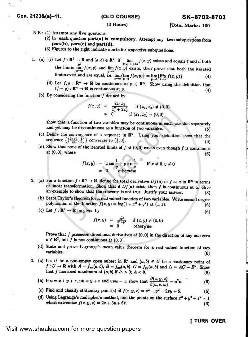 Real Analysis and Multivariable Calculus 2010-2011 - B.Sc. - Semester 5 (TYBSc) - University of Mumbai question paper with PDF download
