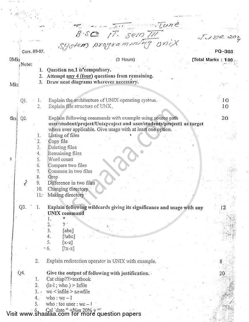 Question Paper - System Programming UNIX 2006 - 2007 - B.Sc. - Semester 3 (SYBSc I.T) - University of Mumbai