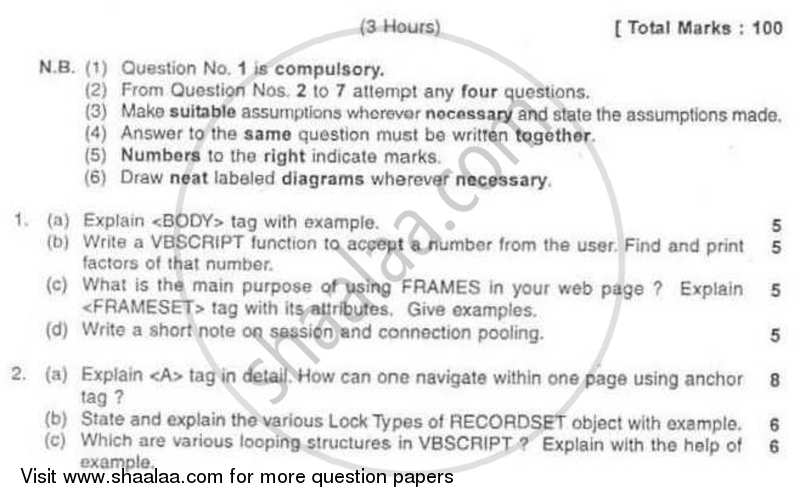 Question Paper - Web Design and Internet Based Applications 2008 - 2009 - B.Sc. - Semester 5 (TYBSc I.T) - University of Mumbai