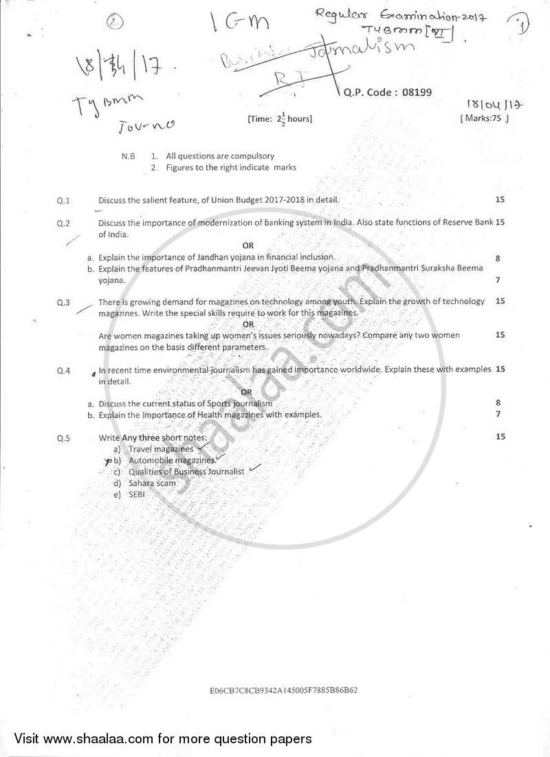 Question Paper - Journalism Paper 4 Internet and Issues in the Global Media 2016 - 2017 Semester 6 - University of Mumbai