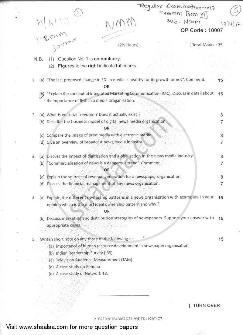 Question Paper - Journalism Paper 5 News Media Management 2016 - 2017 Semester 6 - University of Mumbai with PDF download