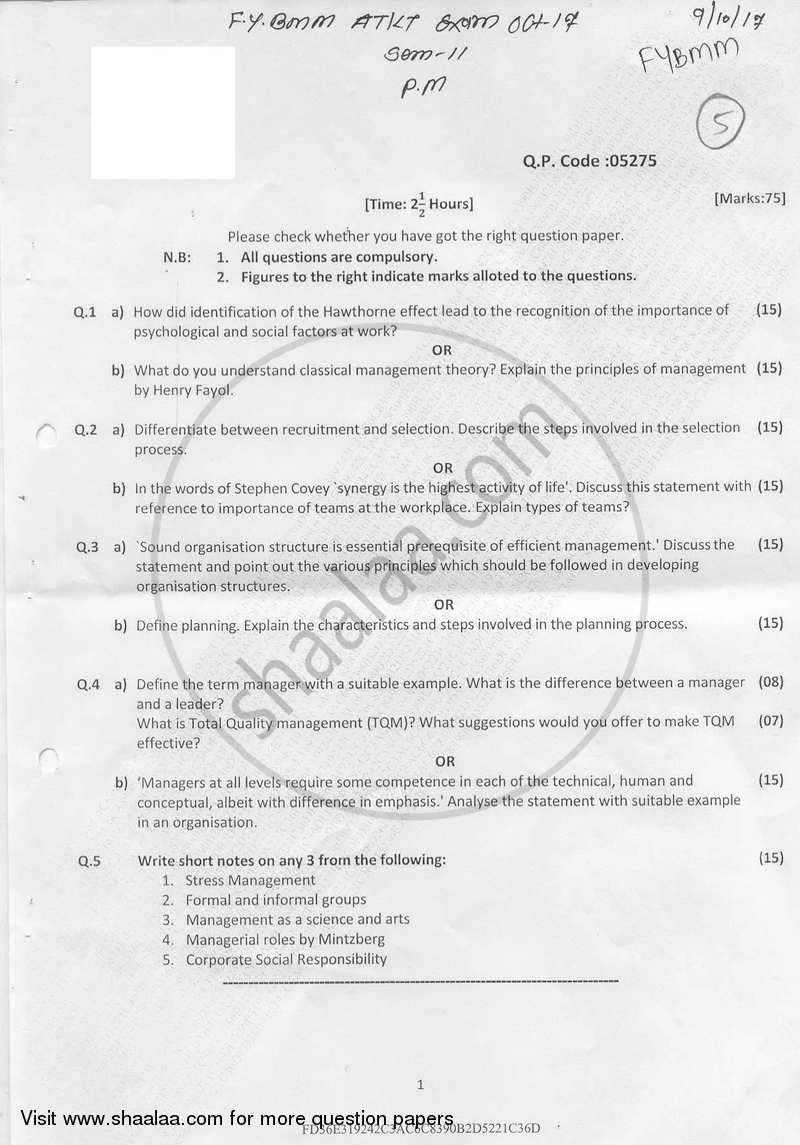 Total quality management university question papers