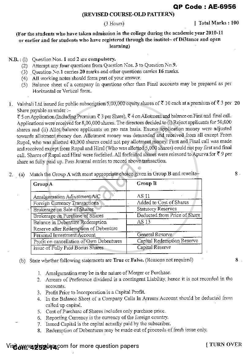Financial Accounting (Financial Accounting and Auditing 3) 2013-2014 - B.Com. - 3rd Year (TYBcom) - University of Mumbai question paper with PDF download