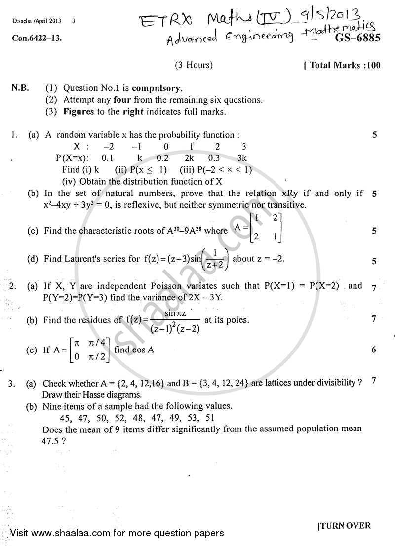 Advanced Engineering Mathematics 2012-2013 - B.E. - Semester 4 (SE Second Year) - University of Mumbai question paper with PDF download