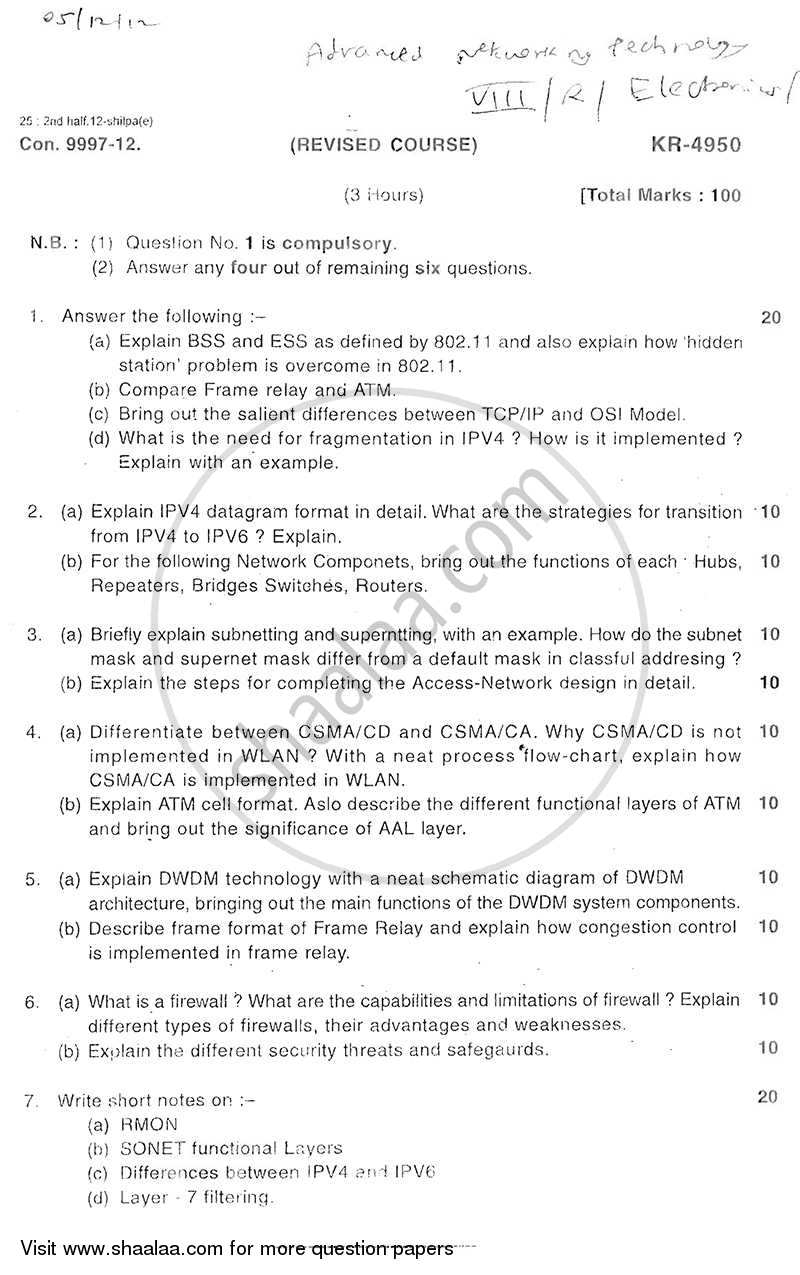 Advanced Networking Technologies 2012-2013 - B.E. - Semester 8 (BE Fourth Year) - University of Mumbai question paper with PDF download