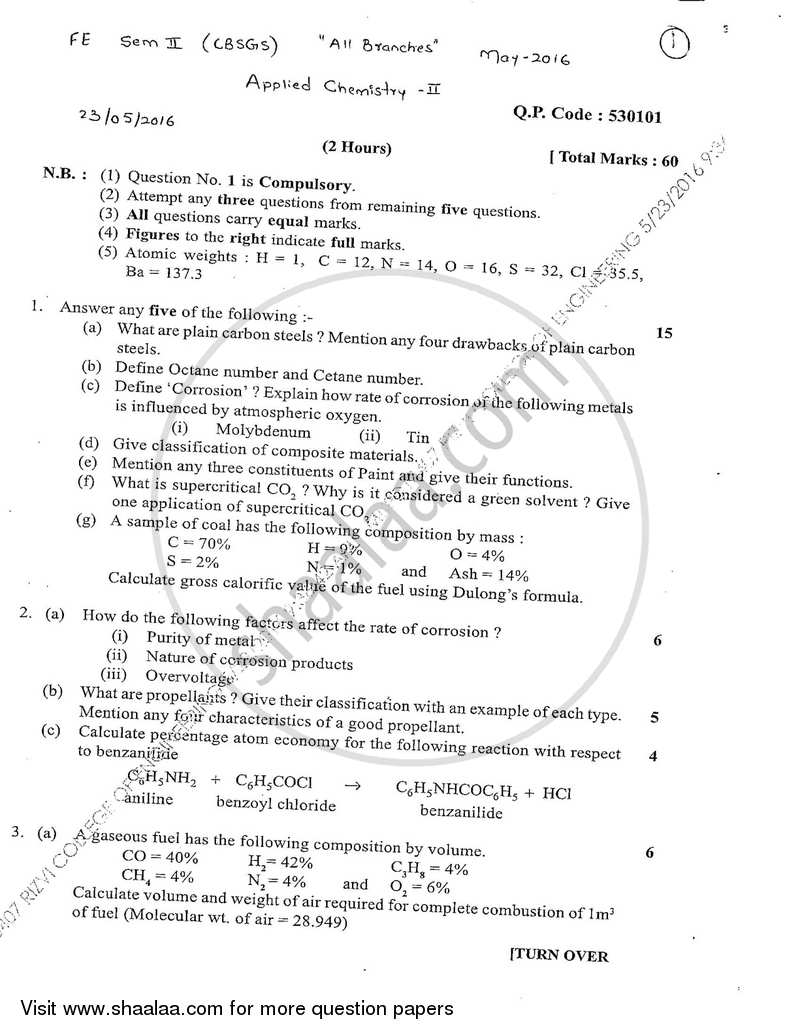 Applied Chemistry 2 2015-2016 - B.E. - Semester 2 (FE First Year) - University of Mumbai question paper with PDF download