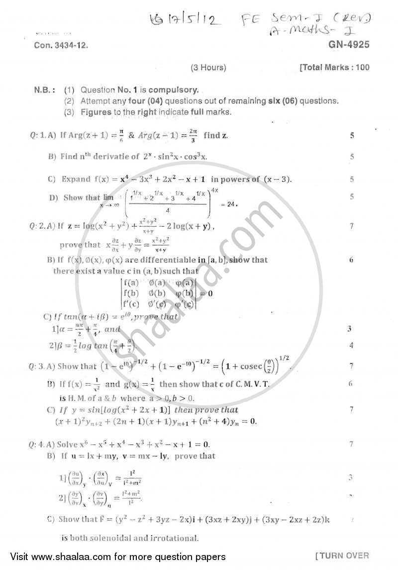 Applied Mathematics 1 2011-2012 - B.E. - Semester 1 (FE First Year) - University of Mumbai question paper with PDF download