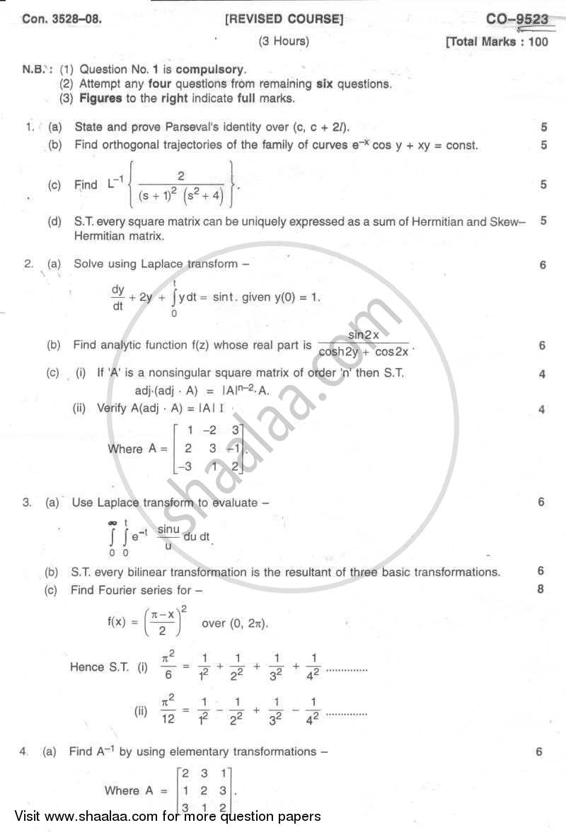 Applied Mathematics 3 2007-2008 - B.E. - Semester 3 (SE Second Year) - University of Mumbai question paper with PDF download