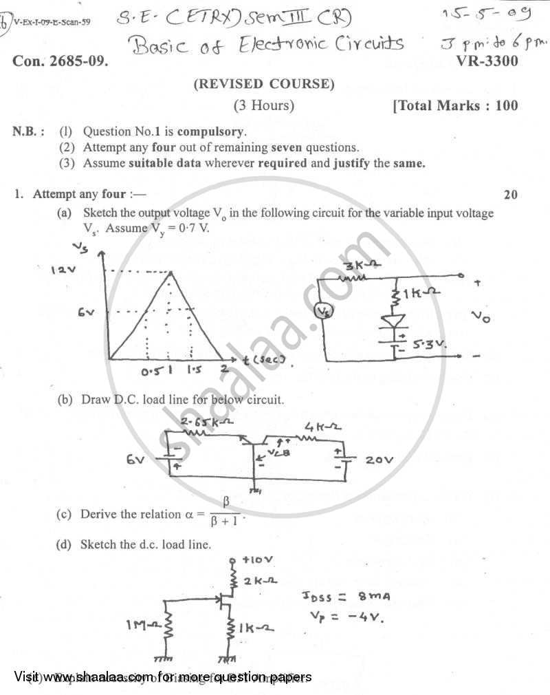 Basic Electronics Circuits 2008-2009 - B.E. - Semester 3 (SE Second Year) - University of Mumbai question paper with PDF download