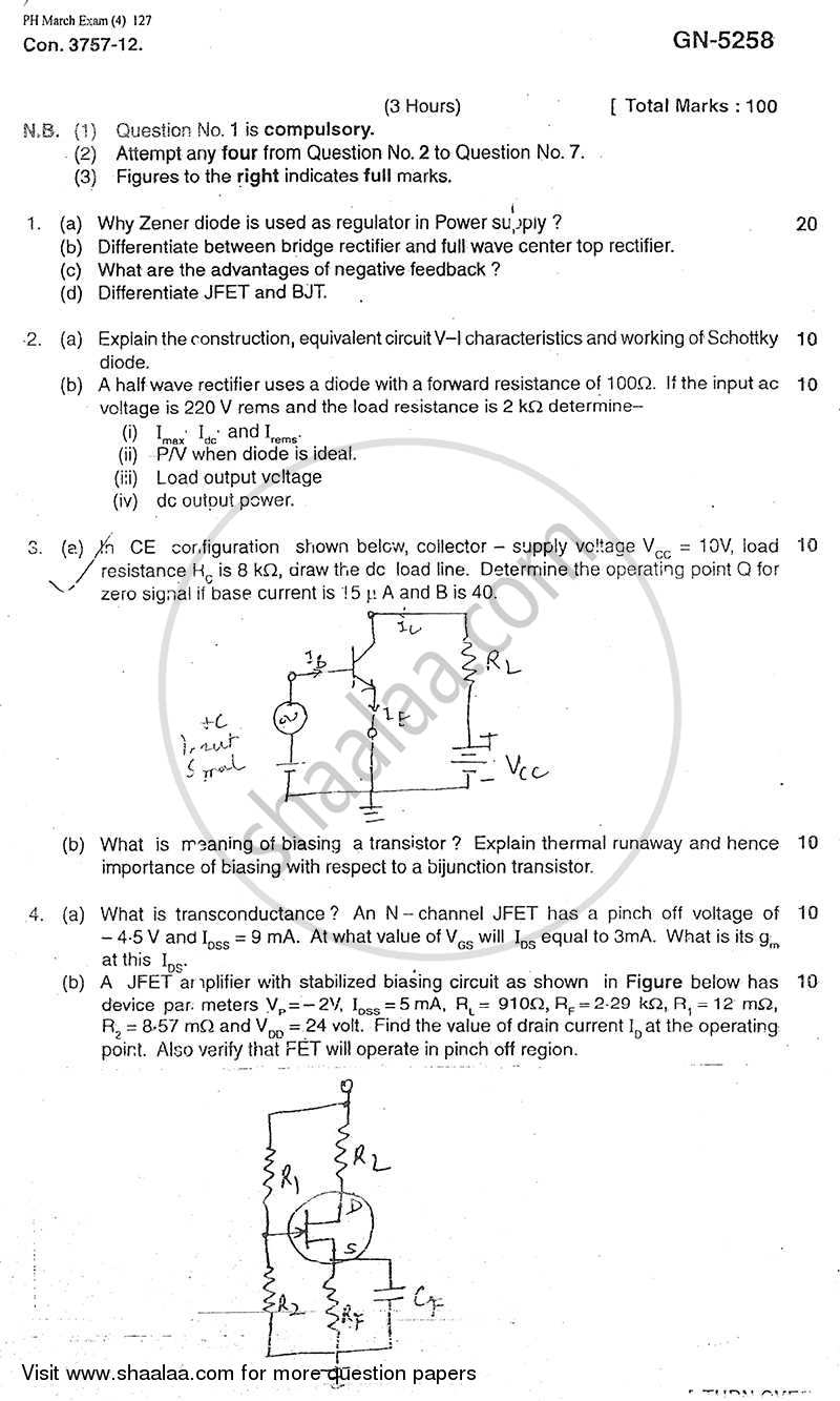 Basic Electronics 2011-2012 - B.E. - Semester 3 (SE Second Year) - University of Mumbai question paper with PDF download