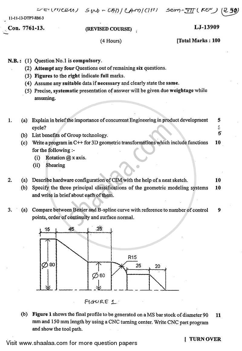 CAD CAM CAE 2013-2014 - B.E. - Semester 7 (BE Fourth Year) - University of Mumbai question paper with PDF download