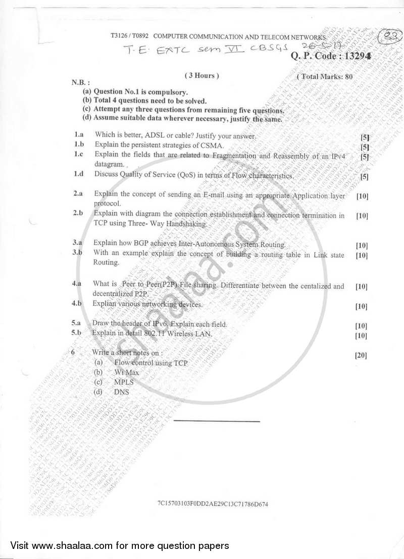 Computer Communication and Telecom Networks 2016-2017 - B.E. - Semester 6 (TE Third Year) - University of Mumbai question paper with PDF download