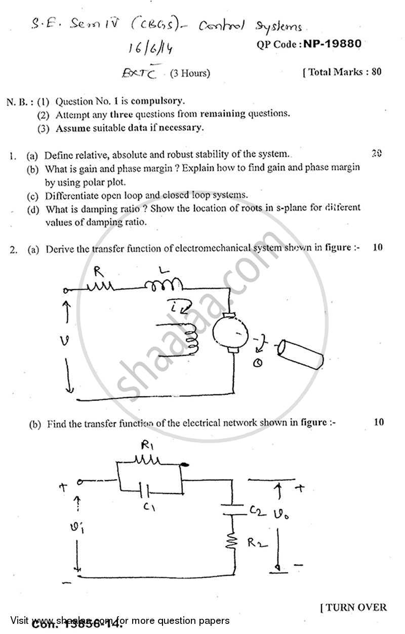 Control System 2013-2014 - B.E. - Semester 4 (SE Second Year) - University of Mumbai question paper with PDF download