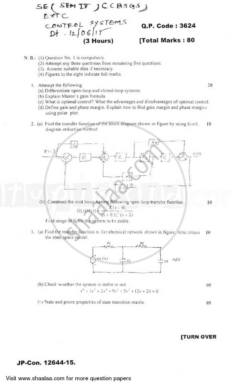 Control System 2014-2015 - B.E. - Semester 4 (SE Second Year) - University of Mumbai question paper with PDF download