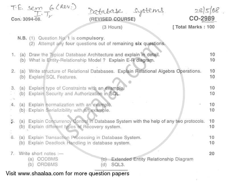 Database Technologies 2007-2008 - B.E. - Semester 6 (TE Third Year) - University of Mumbai question paper with PDF download