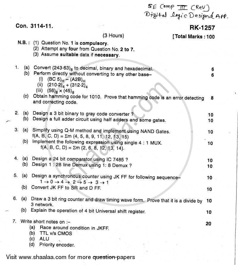 Digital Logic Design and Application 2010-2011 - B.E. - Semester 3 (SE Second Year) - University of Mumbai question paper with PDF download