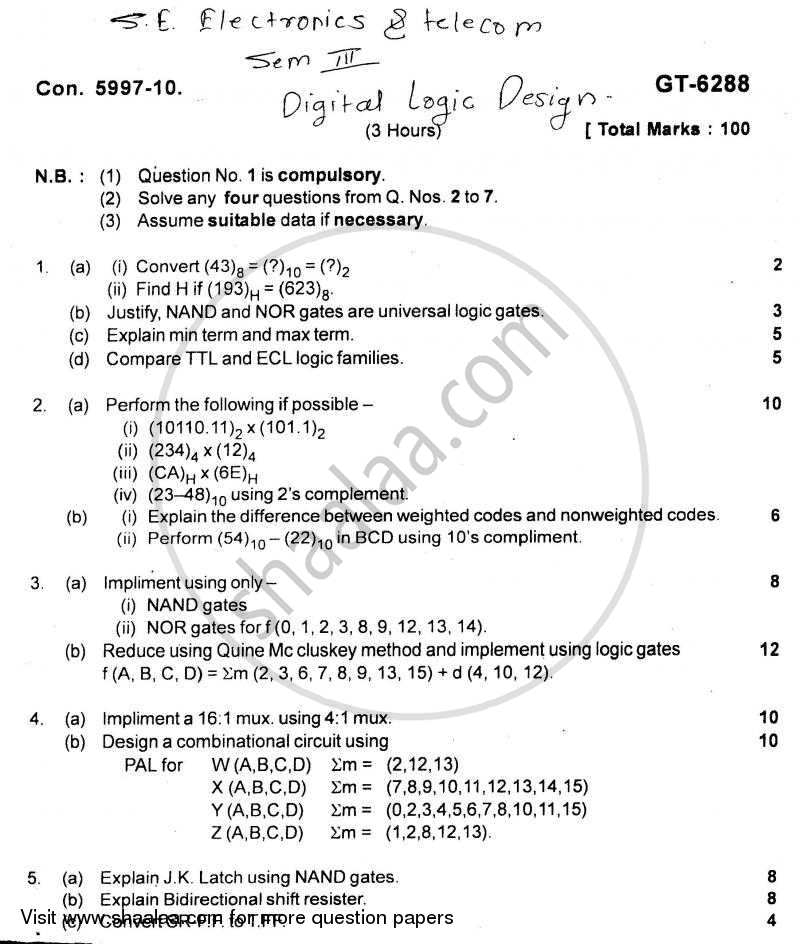 Digital Logic Design 2010-2011 - B.E. - Semester 3 (SE Second Year) - University of Mumbai question paper with PDF download