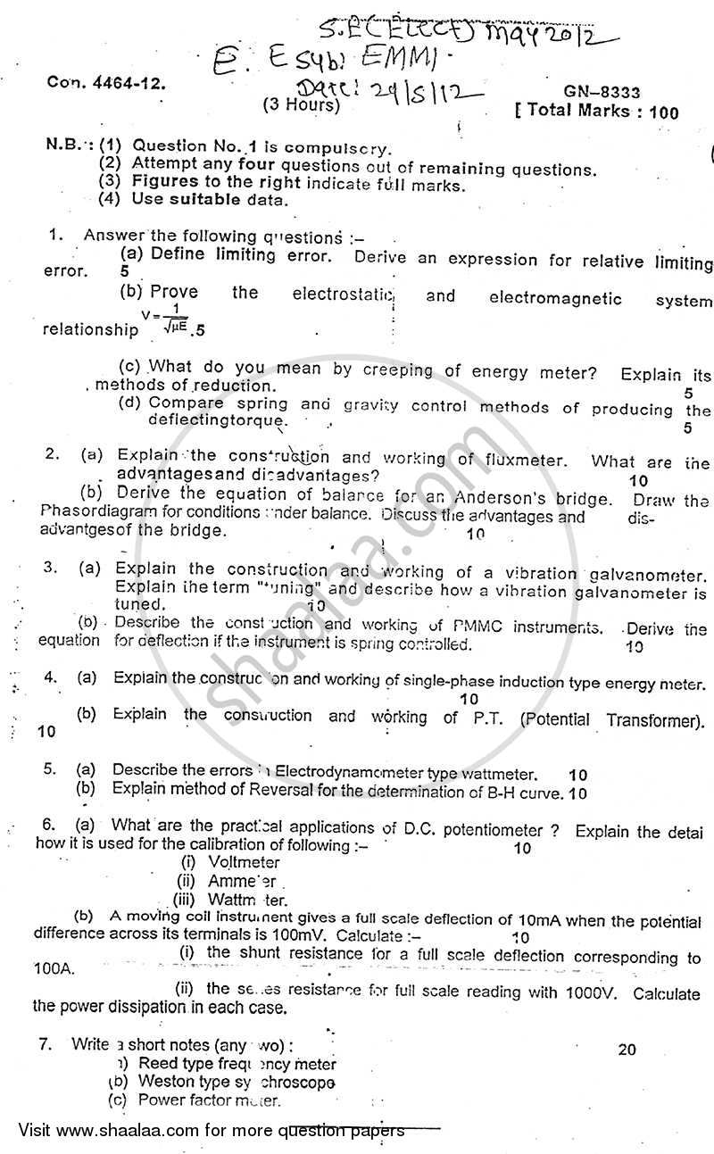 Electrical Measurements and Measuring Instruments 2011-2012 - B.E. - Semester 3 (SE Second Year) - University of Mumbai question paper with PDF download