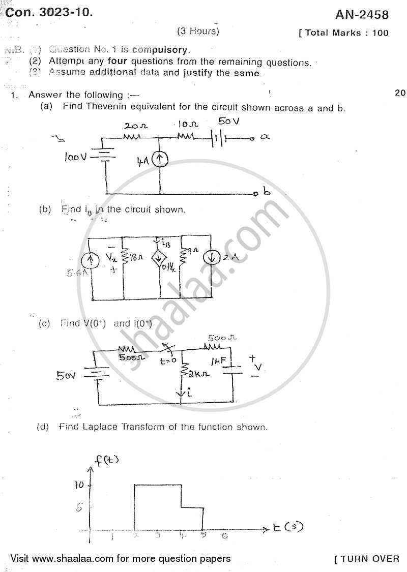 Electrical Networks 2009-2010 - B.E. - Semester 3 (SE Second Year) - University of Mumbai question paper with PDF download
