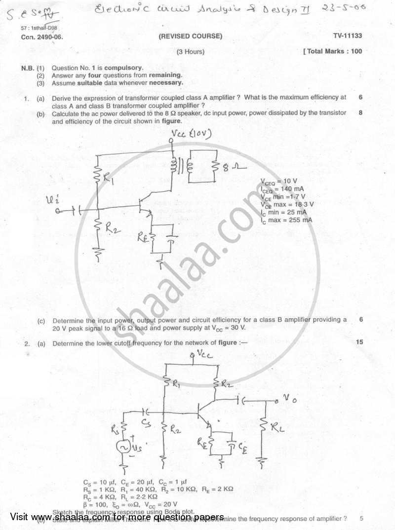 Electronic Circuit Analysis and Design 2005-2006 - B.E. - Semester 4 (SE Second Year) - University of Mumbai question paper with PDF download
