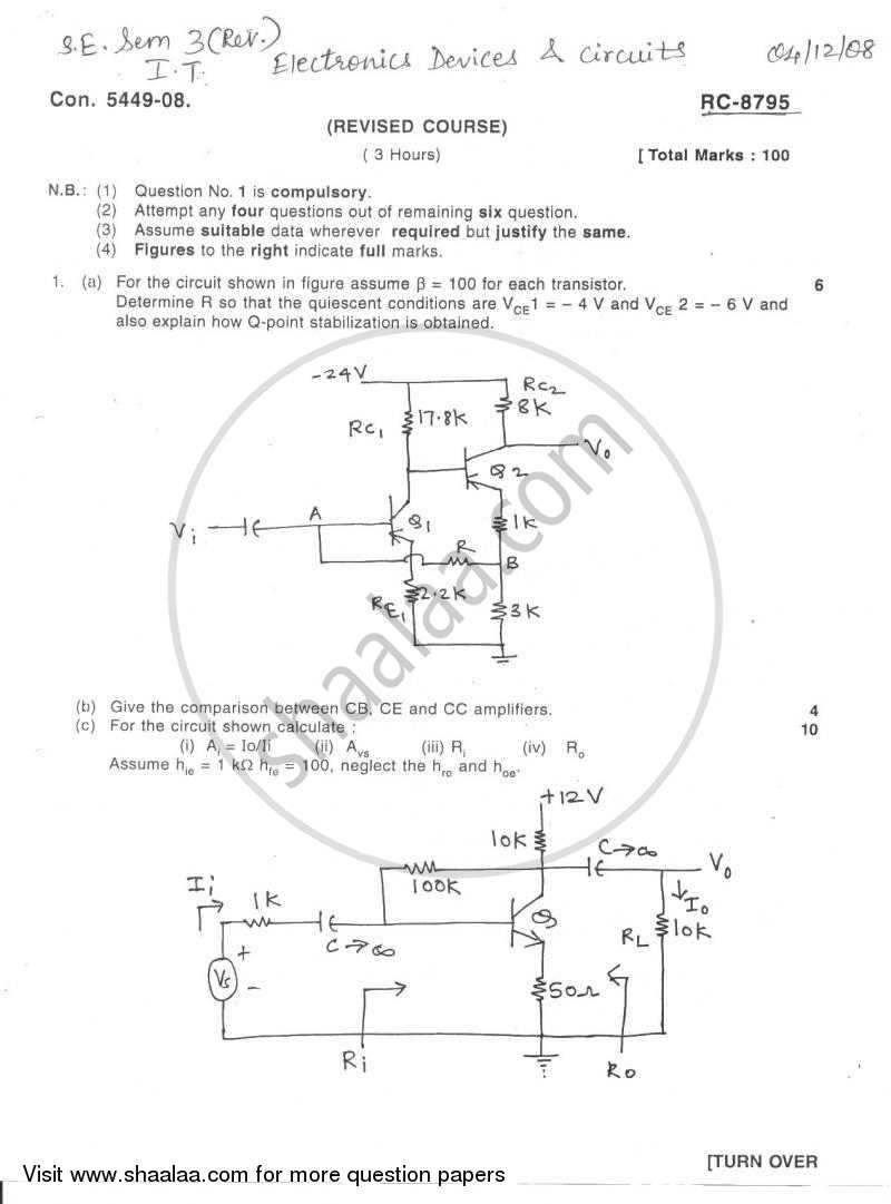 Electronic Devices and Circuits 2008-2009 - B.E. - Semester 3 (SE Second Year) - University of Mumbai question paper with PDF download