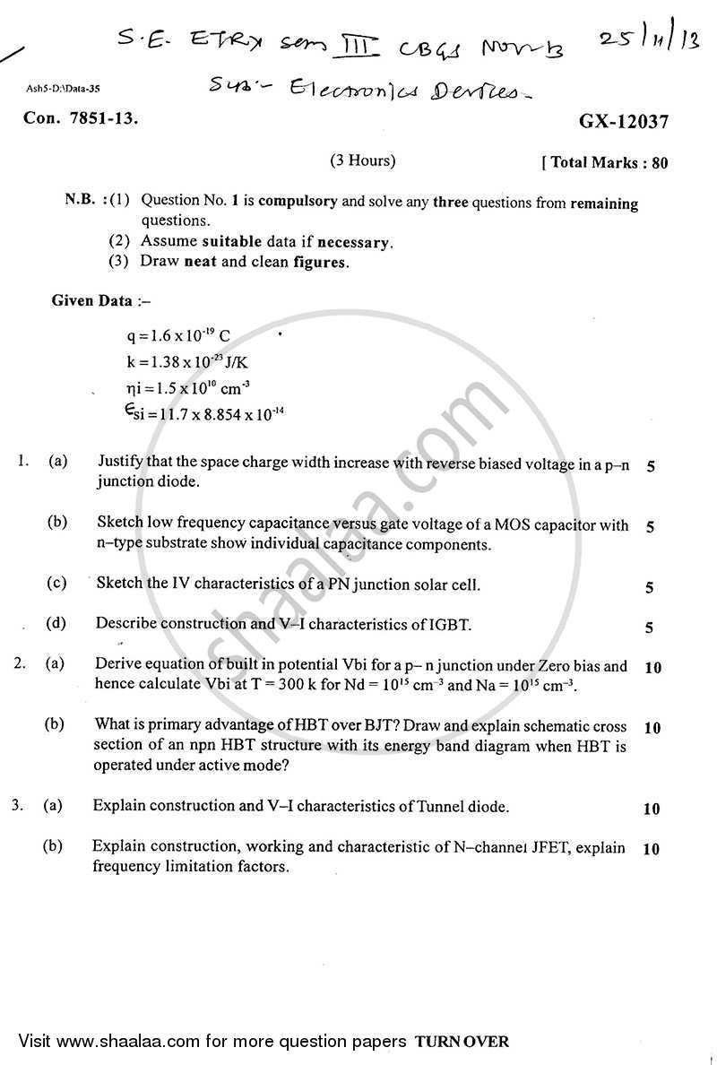 Electronics Devices 2013-2014 - B.E. - Semester 3 (SE Second Year) - University of Mumbai question paper with PDF download